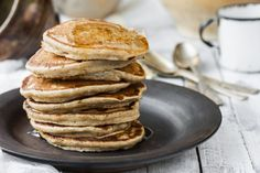 Going plant-based doesn't mean leaving your beloved pancakes in the dust. This recipe is gluten-free, egg-free, refined sugar-free.and absolutely delicious. Vegan Pancake Recipes, Veg Recipes, Whole Food Recipes, Breakfast Cake, Breakfast Recipes, Dessert Recipes, Desserts, Gluten Free Pancakes, Vegan Pancakes