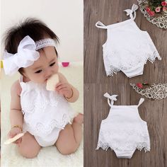 Cute Kids Baby Girl Summer Clothes Romper Jumpsuit Bodysuit Outfit Lace Dress US #Unbrand #PartyEverydayHoilday