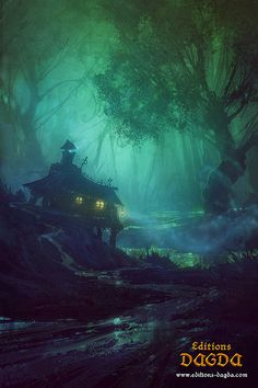Deep within the forest, in a house built right on top of the Carusowa Swamp, lives a kind little lady The Art Of Animation: Photo Fantasy Places, Fantasy World, Dark Fantasy, Environment Concept, Environment Design, Fantasy Landscape, Landscape Art, Fantasy Kunst, Fantasy Art