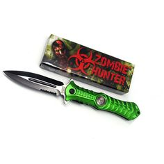 FREE SHIPPING. $28.50  Zombie Hunter Assisted Opening Stiletto- Green  This cool new folding knife from Zombie Hunter features lightning fast assisted opening action- just flick the stud on back spine of knife for instant blade deployment!  The Zombie Hunter assisted opening stiletto measures 4.5...