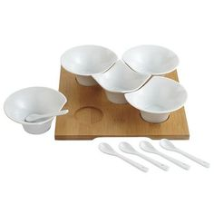 Bamboo Tray with Porcelain Bowls & Spoons - what an interesting arrangement!