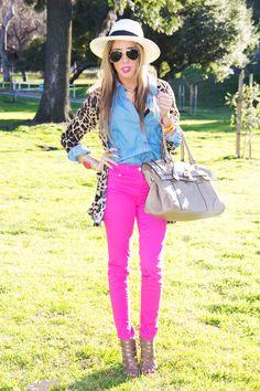 Neon pants, chambry shirt, leopard cardi, neutral bag, aviators and hat <3