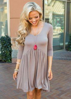 Boutique, Online Boutique, Women's Boutique, Modern Vintage Boutique, Dress, Mocha Dress, Short Dress, 3/4 sleeve Dress, Cute, Fashion