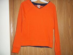 Danskin Now S Small 4/6 Long Sleeved Double Cuff Orange Blue Top  #Danskin #ShirtsTops