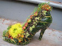 botanical shoe with croton leaves, blackberries, eucalyptus pods, Françoise Weeks