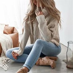 aa017d52d5697c Casual Fashion Loose Plain High Collar Long Sleeve Sweater Fashion Ideas,  Fashion Advice, Women's