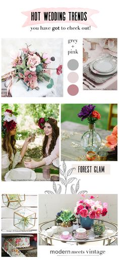 Gorgeous new wedding trends // Grey & Pink Wedding Color Palette // Forest Glam // Modern Meets Vintage