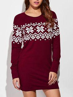 Snowflake Dress Sweater Raglan Sleeve #Unbranded #Blouson #Casual