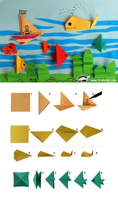 Craft Tips and Accessories Sea Crafts, Diy Arts And Crafts, Diy Crafts For Kids, Art For Kids, Origami Paper Folding, Paper Crafts Origami, Origami Art, Toddler Crafts, Preschool Crafts