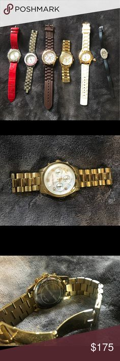 Lot of watches: MK, JC, AK, Guess, Art Deco I'm selling my old watches: Michael kors, Anne Klein, Guess, juicy couture and met Art Deco watch.  They all show some sort of wear, some better than others. All need a new battery. Let me know if you have any questions Michael Kors Accessories Watches
