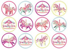 12 Carousel Horse Pink Blue Purple Edible Rice/Wafer Paper Cake/Cupcake Toppers