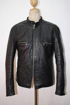 Vtg 60s BROOKS Steerhide Leather Motorcycle Jacket CAFE RACER Medium