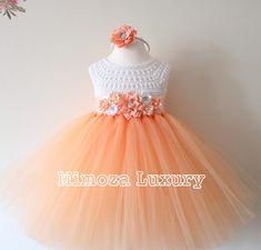 Crochet Tutu Dress, Crochet Baby Dress Pattern, Tulle Dress, Tulle Tutu, 1st Birthday Girl Dress, Birthday Dresses, Peach Flower Girl Dress, Flower Girl Dresses, Knitted Baby Outfits