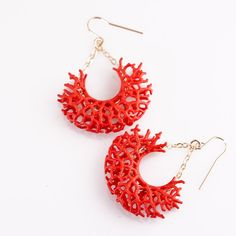 Red vessel earrings science and arty meets pretty jewelry...I like it.