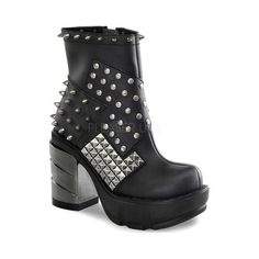 Demonia Sinister 64 Goth Boots - ankle demonia boots with metallic chunky heel and rivet pattern across boot finish xx Studded Ankle Boots, Platform Ankle Boots, Black Ankle Boots, Ankle Booties, Leather Boots, Heeled Boots, Shoe Boots, Black Shoes, Shoes Sandals