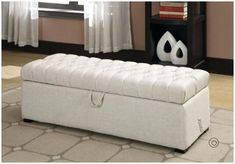 Tufted Bedroom Bench - A bench is a decorative convenience that can function as an extra seat in your bedroom. Make tufted bedroom bench with fabric that Bed Bench Storage, Storage Bench Bedroom, Bench With Storage, Transitional Benches, White Storage, Bedroom Bench, Coaster Furniture, Storage Ottoman Bench, Storage Bench