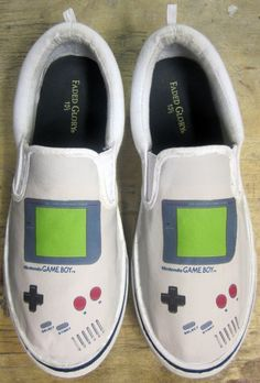 Nintendo Game Boy Shoes William Higinbotham developed an analogue computer with vacuum tube at Painted Canvas Shoes, Custom Painted Shoes, Hand Painted Shoes, Custom Shoes, Custom Vans, Custom Clothing, Custom Sneakers, Game Boy, Diy Sharpie