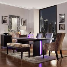 INSPIRE Q Lorin Modern LED Light System Inlay Dining Table $800