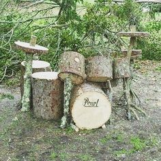 irecyclart: #drum#kit from #logs http://ift.tt/1nLbyaY