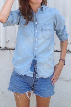 Chimala Women's Chambray Work Shirt...love the whole outfit, really.