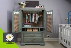 An old television armoire is repurposed and upgraded into a dresser for a baby.