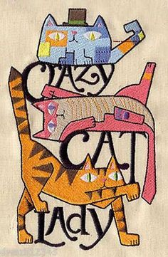 Crazy cat lady awesome 2 embroidered hand towels by susan for Crazy mural lady