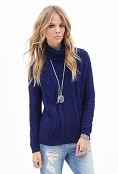 Cable Knit Turtleneck Sweater | FOREVER21 - 2000083749