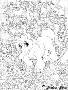 Detailed Lisa Frank Difficult Coloring Pages For Adults