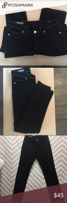 Citizens of Humanity Black Straight Leg Jeans Citizens of Humanity black, low waist/straight leg jeans. Ava #213z stretch. Tan stitching. One small stain on back left pocket but otherwise perfect, like-new condition. Made in USA. Size 27. Citizens of Humanity Jeans Straight Leg