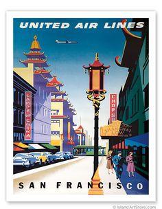 San Francisco, USA - China Town - United Air Lines - Giclée Art Prints & Posters