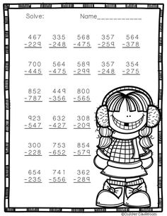3 Digit Subtraction with Regrouping Printables 2nd Grade Math Worksheets, School Worksheets, Math Resources, Math Activities, Math Sheets, Second Grade Math, Math For Kids, Addition And Subtraction, Winter Theme