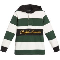Boys green and ivory striped rugby shirt by Ralph Lauren, made in a soft mid-weight cotton jersey. It has a black hood, black ribbed cuffs and a black stripe with a gold embroidered designer name across the front. It fastens with concealed buttons on the front.<br /> <ul> <li>100% cotton (soft jersey feel)</li> <li>Machine wash (30*C)</li> <li>Generous fit</li> <li>Button fastenings on the front</li> <li>Designer colour: Green multi</li> </ul>