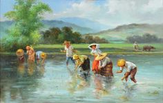 """OSCAR NAVARRO (Philippines 1921-1973) """"Rice Pickers"""" Oil on canvas #michaans http://www.michaans.com/highlights/2016/highlights_01092016.php"""