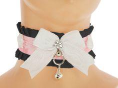 White lace black Kitten Play Collar, Pet Play, Choker, lolita kawaii, princess, neko girl, Bdsm, ddlg collar, pastel gothic, day collar, 6F