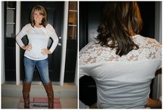 Late Night Lace Top in Ivory (with another view of the Outlaw Boot!!)