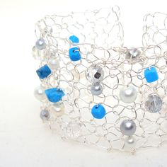 Wire Knit Cuff Bracelet Modern Statement Jewelry by lapisbeach. $64.00 USD, via Etsy.