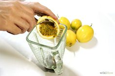 How to Make Passion Fruit Juice. Freshly made passion fruit juice has an incomparable tropical flavor that is tangy and sweet at the same time. But if you have never worked with fresh passion fruits before, cutting into the wrinkly shell. Yellow Passion Fruit, Passion Fruit Juice, Fruit Juice Recipes, Smoothie Recipes, Healthy Juices, Healthy Smoothies, Healthy Food, Breakfast Juice, Passionfruit Recipes