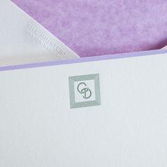 Bespoke Stationery | Bone White Empire Card with Lavender Border Monogram engraved in Metallic Green.