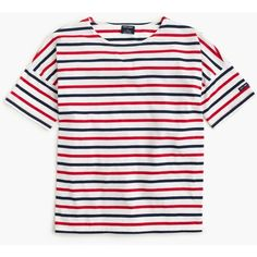 Saint James For J.Crew Short-Sleeve Slouchy T-Shirt (370 BRL) ❤ liked on Polyvore featuring tops, t-shirts, shirts, blue, red, short sleeve tee, red shirt, short-sleeve shirt, t shirts and striped t shirt