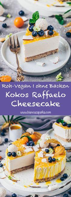 Tarta de queso y coco Raffaelo Torte (vegano) Bianca Zapatka Raw Vegan Cheesecake, Raw Vegan Cake, Coconut Cheesecake, Raw Cake, Cheesecake Recipes, Easy Cake Recipes, Dessert Recipes, Roh Vegan, Refreshing Desserts