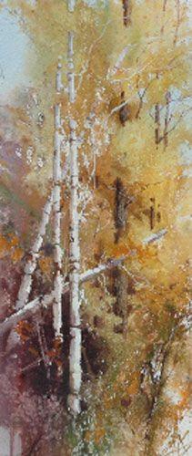 "Cindy Baron  ""Seasons III"" Watercolor   6"" x 16""    Price: Inquire"