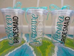 Personalized Bridal Party Tumblers Wedding by thelovelyprint, $13.00