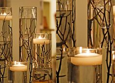 Branches and floating candle vase