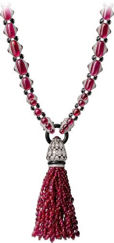 White gold, rubies, onyx, black lacquer and diamonds. Just a hint of what is to come from the Cartier Étourdissant collection. Cartier Necklace, Cartier Jewelry, Ruby Jewelry, Tassel Jewelry, High Jewelry, Jewelry Necklaces, Diamond Necklaces, Lotus Jewelry, Tassel Necklace