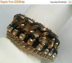 Bracelet Clear Rhinestones Black Ribbon Gold Tone Chain Signed Aldo Vintage Jewelry Jewellery Christmas Gift Guide Wide Chain Link Abstract