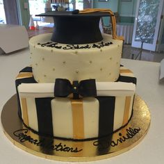 Gold and Black Graduation Celebration Cake