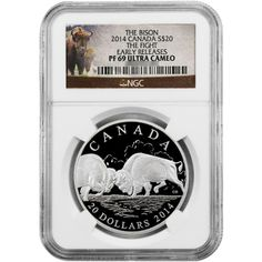 2014 Canada Silver Bison The Fight 1oz PF69 UC ER NGC Bison Label with OGP