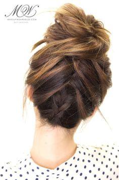 How to cute braid messy bun - hairstyle tutorial