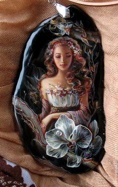 """кулон """"Ночная ваниль орхидеи"""".. - чёрный,камень,кулон,подарок,ваниль,женщина"""