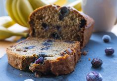 Recipe: Blueberry and Banana Bread - snacks Pizza Wraps, Banana Bread, Blueberry Bread, Frosting, Biscuits, Muffins, Lunch, Snacks, Fruit